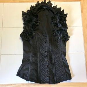 bebe Black Vintage Inspired Victorian Top